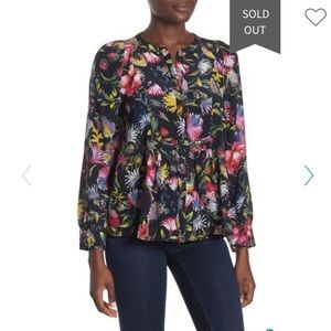J. Crew Silk Floral Pleated Popover Blouse